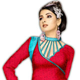 Incredible Red and Blue Crepe Unstitched Salwar Suit