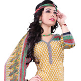 Catchy Yellow and Red Cotton Salwar Suit Set