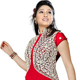Bright Red Coloured Salwar Suit Set