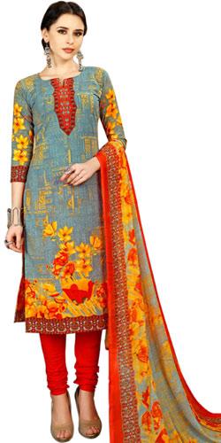 Multi-Colored Floral Design Salwar Set in Spun Cotton