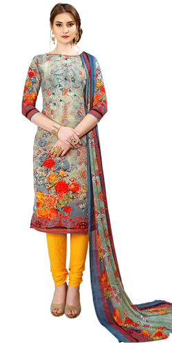 Wonderful Spun Cotton Floral Print Salwar Kameez Set in Vibrant Colors