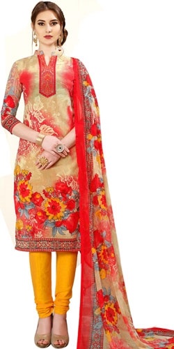 Radiant Spun Cotton Salwar Suit in Floral Design for Ladies
