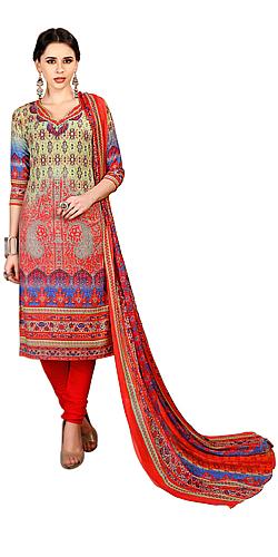 Exquisite Floral Print Salwar Suit in Spun Cotton Fabric