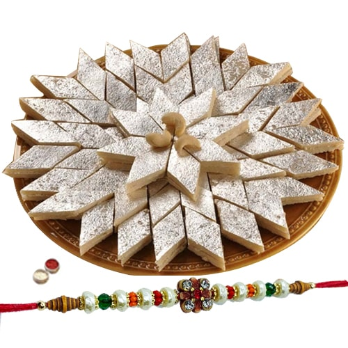 Mouth-Watering Haldiram Kaju Katli with 1 Free Rakhi, Roli Tilak and Chawal