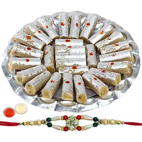 Sweet Delight with  Kaju Pista Roll from Haldiram with 1 Free Rakhi, Roli Tilak and Chawal
