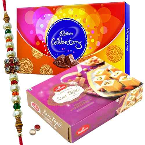 Free Rakhi, Roli Tilak and Chawal along with Haldiram Soan Papri and Celebration Chocolates