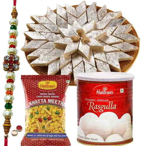 Free  Rakh, Roli tika and Chawal along with  Haldiram special sweet pack