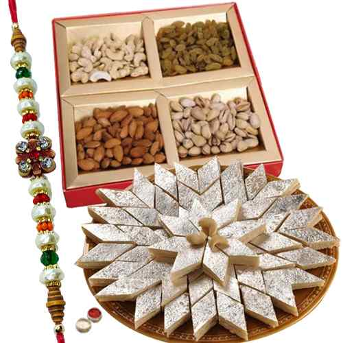 Lovely Haldiram sweets,Dry fruits with free Rakhi, Roli tilak and Chawal