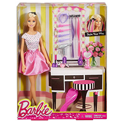 Superb Selection of Kids Barbie Doll Make-Up N Hair Accessories Set