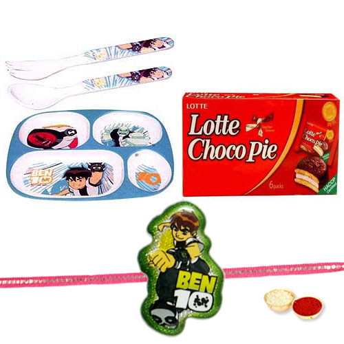 Cartoon Netwroks Ben 10 Fooding Set for Kids with 1 Kids Rakhi Rakhi, Roli, Tilak and Chawal