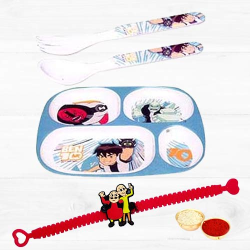 Disneys Noddy Fooding Set for Kids with Motu Patlu Rakhi and Roli, Tilak and Chawal.
