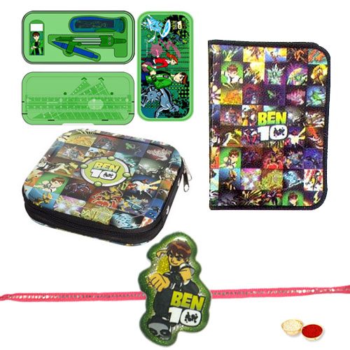 Remarkable Gift of Ben 10 Geometry Box, Zipper File Pack N CD Cover with Ben 10 Rakhi and Roli, Tilak and Chawal.