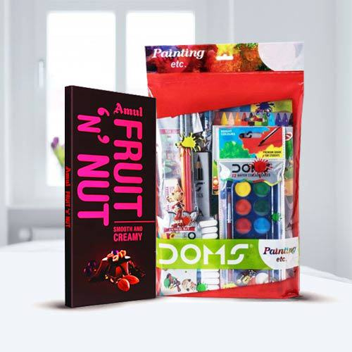 Remarkable Doms Painting Kit and Amul Chocolate Bar