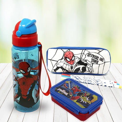Marvelous Spiderman Stationery n Canteen Set