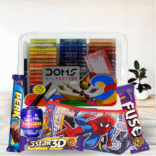 Exclusive Spiderman Kids Stationery, Color Set n Chocolates Combo