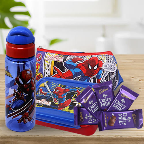Wonderful Spiderman Kids Stationery, Canteen Set n Chocolate Combo