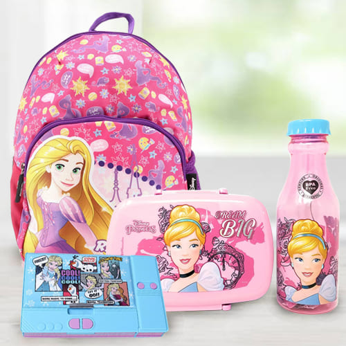 Lovely Cinderella Tiffin Combo, Rapunzel School Bag and Disney Pencil Box