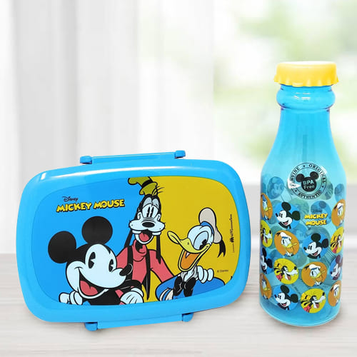 Attractive Mickey Mouse Lunch Box n Water Bottle Set