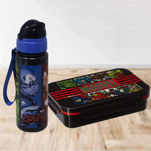 Amazing Avengers Tiffin Box n Sipper Bottle Combo