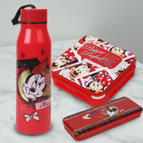 Lovely Combo of Minnie Mouse Sipper Bottle, Pencil n Tiffin Box