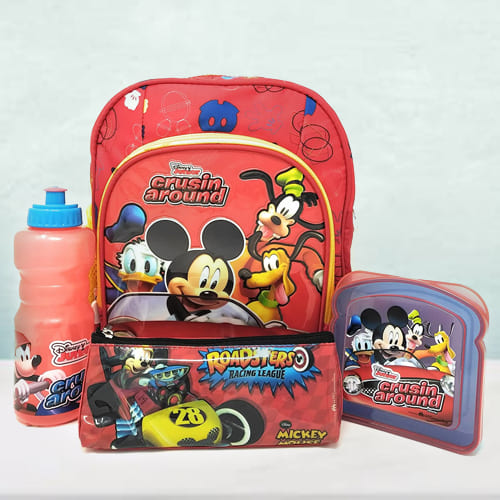 Wonderful Mickey Mouse Backpack, Lunch Box N Sipper Bottle Combo