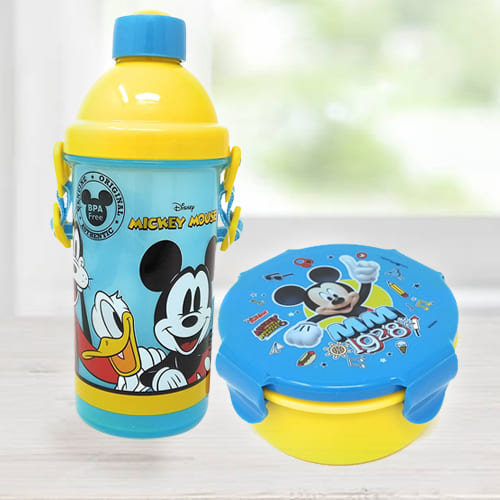 Mesmerizing Mickey Mouse Sipper Bottle n Tiffin Box Budget Combo