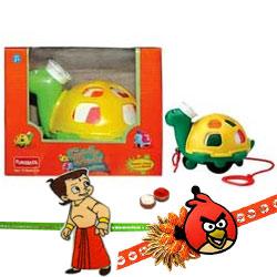 Twirly Whirly Turtle  from Funskool with 2 Kids Rakhi and Roli Tilak Chawal