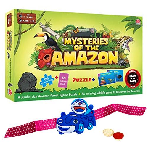 Artful Madzzle Mysteries of The Amazon from MadRat Games with Doraemon Rakhi and Roli, Tilak and Chawal.