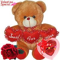 Lovely Tri Heart Bear with one velvet Rose