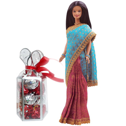 Cute Selection of Indian Barbie with Homemade Chocolates Pack