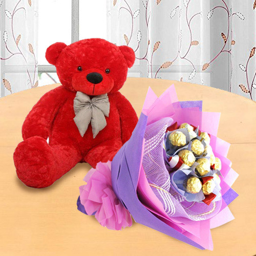 Lovely Red Teddy with Ferrero Rocher Bouquet