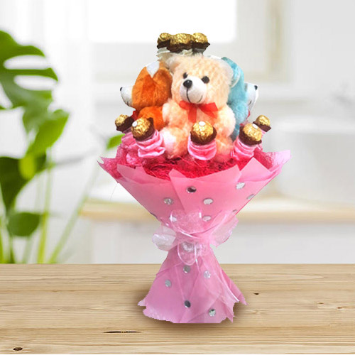 Delightful Teddy Bouquet with Ferrero Rocher Chocolate