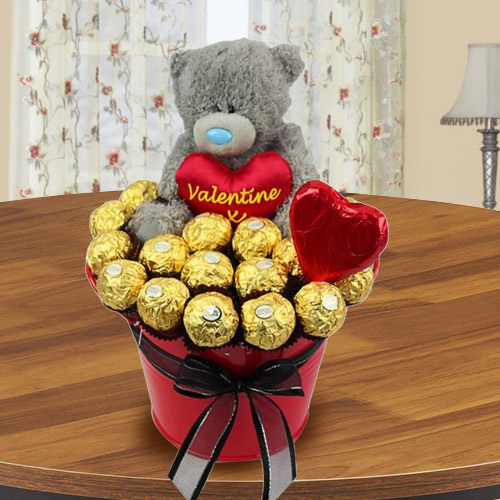 Delightful Bucket of Ferrero Rocher Chocolate with Teddy