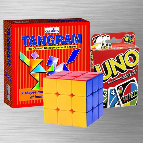 Remarkable Uno Card Game with Tangram Puzzle N Rubiks Cube