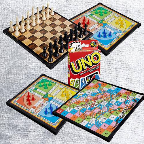 Remarkable 2-in-1 Wooden Board Game with Mattel Uno Card Game