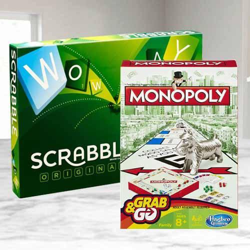 Marvelous Mattel Scrabble Board N Monopoly Grab N Go Game