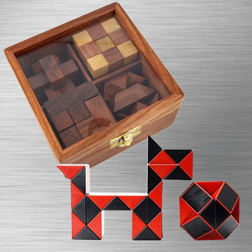Marvelous 4-in-1 Wooden Puzzle Games Set with Cubelelo ShengShou Cube