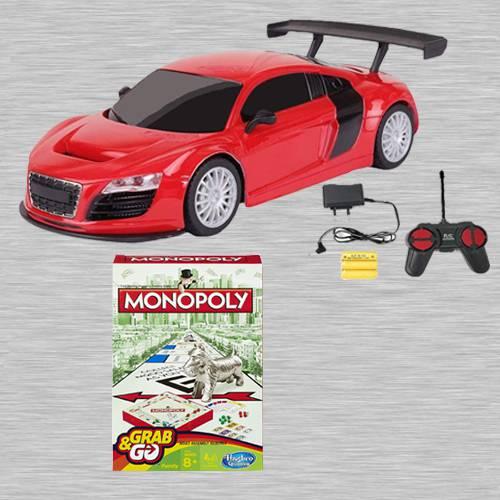 Marvelous Racing Car with Remote Control N Monopoly Grab N Go Game
