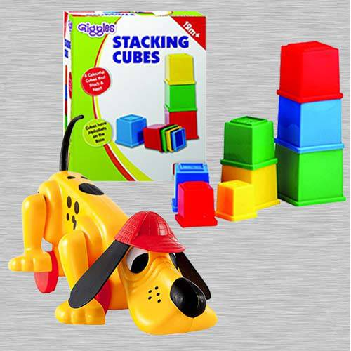 Marvelous Funskool Digger The Dog N Giggles Stacking Cubes