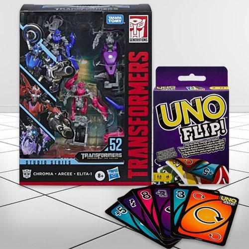 Marvelous Transformers Action Figure N Mattel Uno Flip Side Game