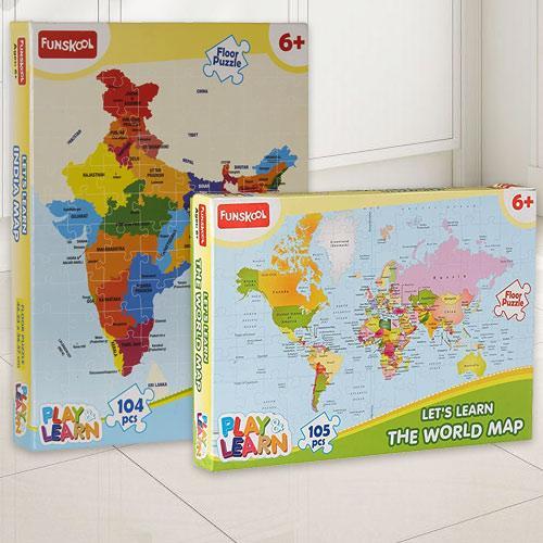 Marvelous Funskool India Map World Map Puzzle Set