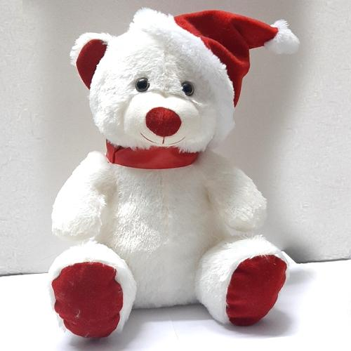 Marvelous Teddy with Red Santa Claus Cap