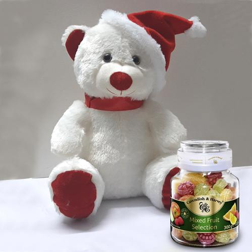 Smart Teddy with Santa Cap n Cavendish  N  Harvey Mixed Fruit Selection