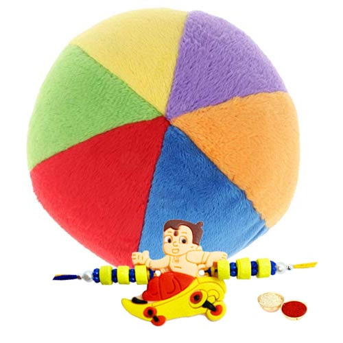 Part Multi – Colored Balls for Kids with Chota Bheem Rakhi and Roli, Tilak and Chawal.