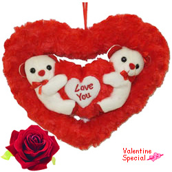 Adorable Couple Teddy in Heart with Touch of Sweet Friendship