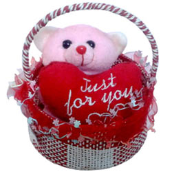 Attractive Pink Teddy in a Basket with Aroma of Romance