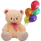 Cute Cuddly Love Teddy with Balloons