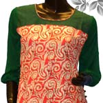Send Trendy Dark Peach and Green Cotton Tunic to Kerala