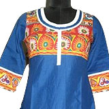 Send Glamourous Red And Blue Designer Cotton Kurti With Matching Patiala to Kerala