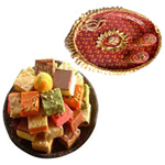 Captivating Combo Of  Pooja Thali N Delicious Assorted Sweet